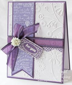 Scraps of Life: Inspired by Stamping April Release - Day 2 - purple and white Stampin Up Karten, Stampin Up Cards, Tarjetas Diy, Purple Cards, Embossed Cards, Mothers Day Cards, Pretty Cards, Sympathy Cards, Flower Cards