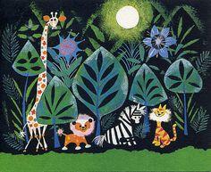 illustration, animal, giraffe, lion, zebra, tiger, floral, jungle, moon, naive. Mary Blair