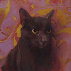 Coco Cat on Swirl a new cat painting, painting by artist Diane Hoeptner