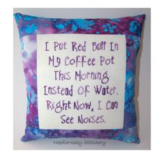 Funny Cross Stitch Pillow Purple Pillow Coffee and by NeedleNosey, $23.00