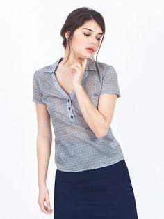 SALE grey blouse short sleeve blouse cotton by SCHILLERshop