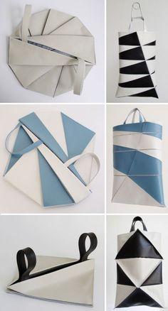 Dutch label Frrry features bags from their polygon series which cleverly adopts origami-like folds in the designs. : Dutch label Frrry features bags from their polygon series which cleverly adopts origami-like folds in the designs. My Bags, Purses And Bags, Leather Craft, Leather Bag, Origami Bag, Origami Folding, Origami Paper, Origami Fashion, Fabric Manipulation
