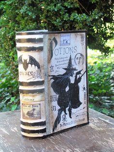 MEDIUM Vintage Paper Mache Halloween Witch's Book by JanieDMattern
