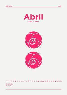 ✿ Hola Abril! — Hola Abril! — Hi April! ✿  #calendar #april #flowers #rose #pink #postdatadesign