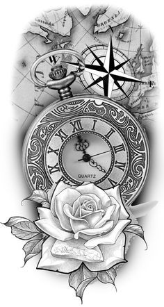 Clock Tattoo Design, Compass Tattoo Design, Tattoo Design Drawings, Tattoo Sketches, Compass And Map Tattoo, Map Tattoos, Best Sleeve Tattoos, Tattoo Sleeve Designs, Body Art Tattoos