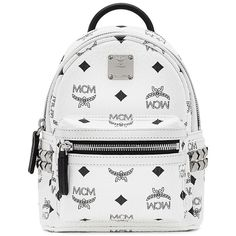 MCM Bebe Boo X Mini Studded Coated Canvas Backpack ($700) ❤ liked on Polyvore featuring bags, backpacks, apparel & accessories, day pack backpack, miniature backpack, print backpacks, white backpack and backpack bags