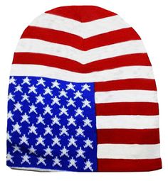 8a1244cf9e10 American Flag Ski Hat Patriotic Knitted Winter Beanie Cuffless Stars and  Stripes Red White and Blue