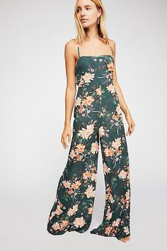 Jennifer Jumpsuit - Green Floral Tank Jumpsuit with Flowy Leg Floral Jumpsuit, Printed Jumpsuit, Wild Style, Sheer Fabrics, Outfit Goals, Fashion Forward, Outfit Of The Day, Free People, Floral Prints