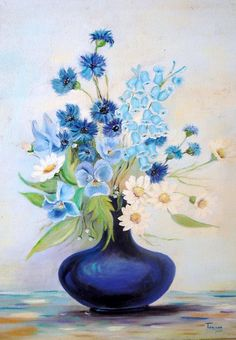 Blue flowers in a blue vase.