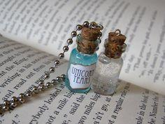 Unicorn Tears Glass Bottle Necklace Cork by RedQueenMisc Bottle Jewelry, Bottle Charms, Bottle Necklace, Necklace Charm, Pendant Necklace, Bottle Art, Mermaid Tears, Bottom Of The Bottle, Potion Bottle