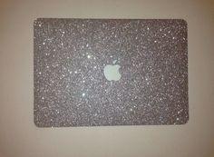 Silver Glitter MacBook Case by EmbriShop on Etsy