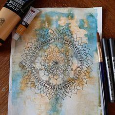 Mandala en tinta sobre universo de acuarela Vintage World Maps, Ink, Universe, Watercolor Painting, Mandalas, Creativity, Artists