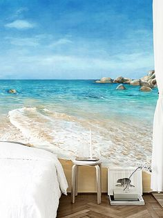 wallpaper murals hawaiian | beach scene with tropical wall mural