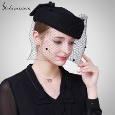 Lady Autumn Winter Hat Korean Mini Top Hat British wool Felt Hat with Retro Net Yarn Fascinator Like and share if you think it`s fantastic! #shop #beauty #Woman's fashion #Products #Hat