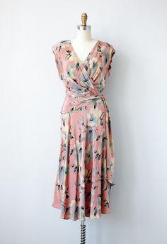 1980s dress / vintage 40s inspired wrap dress / vintage pink floral dress 1980s
