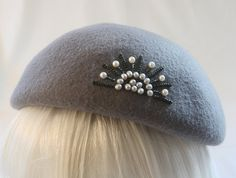Vintage Style Beret: Gray Wool with Pearls by SilverhillCreative, (sold)