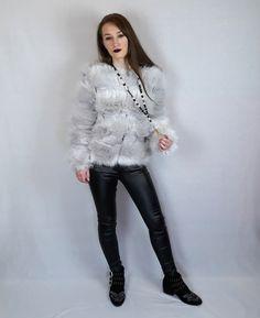 Fluffy coat, clasps at the front. Glitter effect black jeans. www.pinkblackheart.com Faux Leather Jeans, Fluffy Coat, Colour Board, Online Fashion Stores, Black Heart, Jacket Dress, Pink Black, Winter Coat, Festive