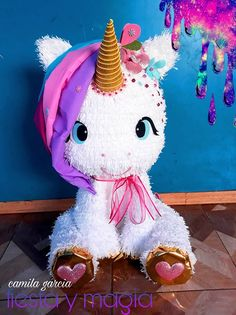 Ready to Ship Unicorn Pinata with Pink Bow Gold Ear