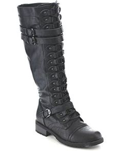 Wild Diva Timberly-65 Women's Fashion Lace Up Buckle Knee High Combat Boots