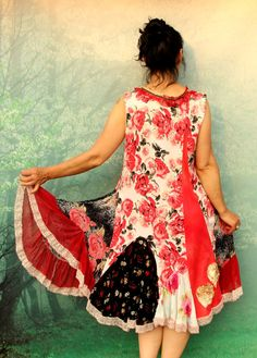 L Summer roses garden patchwork dress recycled by jamfashion