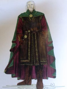 "Concept art for Theoden, King of Rohan from ""Lord of the Rings: The Two Towers"" (2002).  Freed from Saruman's influence, the warrior-king is dressed in shorter tunics and surcoat in vibrant reds and browns.  Costume designers created a golden broach topped with black onyx in the familiar Rohirrim sun motif for Theoden as an emblem of his house."