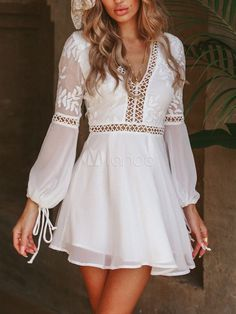 Boho v-hals backless gebreide korte jurk - Dresses Modest Dresses, Casual Dresses, Short Dresses, Maxi Dresses, Short Boho Dress, Wedding Dresses, Casual Outfits, Mini Skater Dress, White Mini Dress