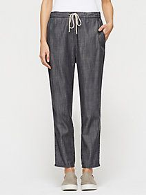 Slouchy Ankle Pant in Tencel Cotton Denim