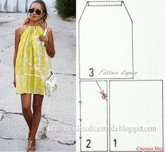 Simple Step by Step Dress – Patterns … - Sommer Kleider Ideen Fashion Sewing, Diy Fashion, Ideias Fashion, Dress Fashion, Fashion Outfits, Fashion Tips, Dress Sewing Patterns, Clothing Patterns, Easy Dress Pattern