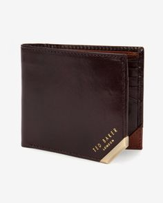 Leather bi-fold coin wallet - Chocolate | Wallets | Ted Baker UK