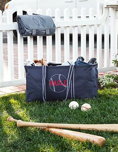 Large Utility Tote in Spirit Navy with Icon-It Baseball in White and name in Red thread. www.mythirtyone.com/tabitharoth