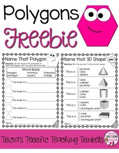 Polygons Freebie for Second Grade Math Geometry Unit Identify 2D and 3D Polygons