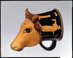 Greek Red-Figure Terracotta Cow Rhyton, C. 460 BCAttic, attributed to the Cow-Head Group. The molded, figural part of the vase is in the shape of a cow's head. The meaning of these plastic vases is. Pottery Designs, Pottery Art, Pottery Mugs, Cow Head, Classical Period, Greek Pottery, Vases, Greek Art, Animal Heads
