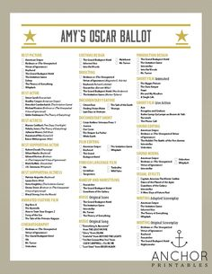 2014 Oscars Ballot ~ Free Party Printables