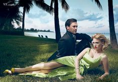 Jon Hamm and January Jones. Photographed at the Lightbourne House in Lyford Cay, Nassau, the Bahamas. Photograph by Annie Liebovitz; styled by Michael Roberts.Vanity Fair - Sep. 2009
