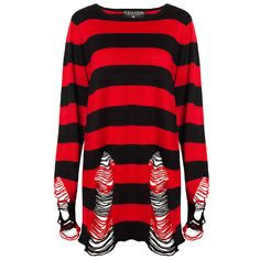 Krueger Knit Sweater [B] Baggy Sweaters, Black Sweaters, Baggy Shirts, Knit Shirt, Sweater Shirt, Red And Black Shirt, Red Shirt, Gothic Outfits, Striped Knit