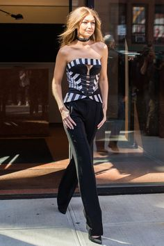 The Gigi Hadid Look Book - Visiting Jimmy Fallon's show in New York City.