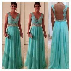 Blue dress with a pretty back
