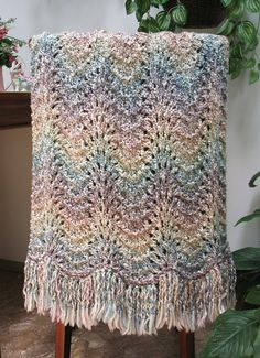 Knit Prayer Shawl Throw Blanket Soft Rainbow by SticksNStonesGifts, $60.00