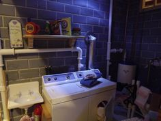 My 70's basement (DIY straws used for the PVC pipes)  Made by me Delphine