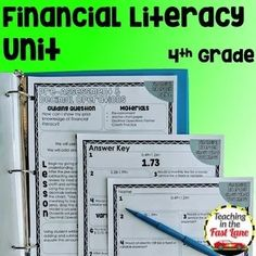 Financial Literacy Unit with Lesson Plans - This seven-day financial literacy unit is designed to meet the needs of fourth-grade TEKS and CCSS classrooms. It includes teacher notes, content vocabulary, warm-ups, scripted lesson plans, student activities, exit tickets, pre-assessment, and post-assessment.
