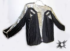 Vintage 1980's Black Silk Silver Sequined and Beaded Sheer Art Deco Evening Jacket Size Medium by SatelliteVintageCo on Etsy