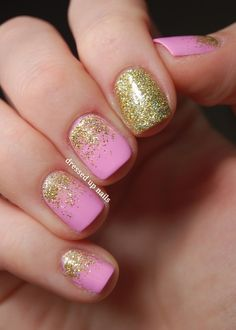 Pink and glittery gold nail art - so dainty yet so glamorous #wedding #nailart #gold #goldwedding #pink