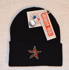Houston Astros Black Beanie Hat - Cuffed Winter Knit Cap