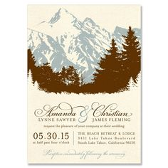 Scenic Wedding Invitation in Chocolate & Vintage | by The Green Kangaroo, Inc.