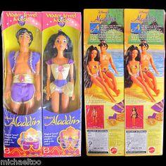 Mattel 1993 Water Jewel Magic Aladdin and Jasmine. WANT!!!