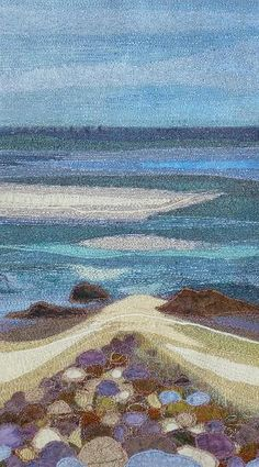 Stones and sandbanks, Naomi Renouf Weaving Projects, Weaving Art, Tapestry Weaving, Ocean Quilt, Beach Quilt, Landscape Art Quilts, Nuno, Thread Painting, Textile Artists