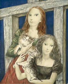 Tsuguharu Léonard Foujita (1886 - 1968) Jeunes Femmes Avec Chats, 1955 (41.5 x 33.6 cm)
