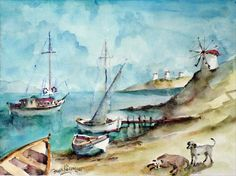 Bodrum Bay, fishing boats, stray dogs and windmills. All gloriously captured in watercolour!