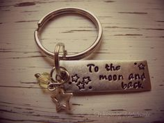To the moon and back  key chain  silver by WhisperingMetalworks, $30.00