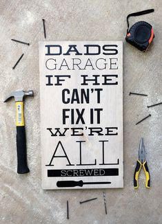 Cute fathers day sign. Perfect fathers day gift for a dad who loves working in the garage.